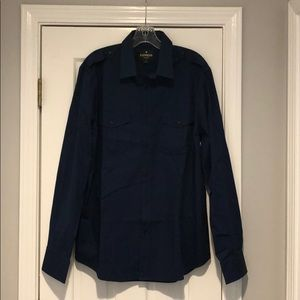 Men's MK2 Navy L Button Down Fitted Shirt
